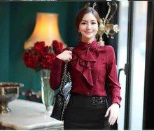New Fashion Women Ladies Shirts elegant Fashionable Tops Long Sleeve Faux Silk Blouse OL Dress Shirt(China (Mainland))