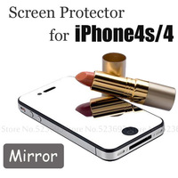 Mirror Screen Protector For iPhone4s 4 Fashion Protective Film Front+Retail Package 2sets/lot 2014 Hot Sale 0307