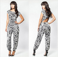 Europe and the United States backless jumpsuit elegant high-end bind party jumpsuit, fashion hot print jumpsuit from head to toe