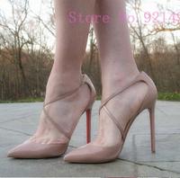 New 2014 Luxury Genuine Leather Plus Size 35-41 10 Sexy Cross Strap Thin High Heel 12cm 10cm Red Bottom Women's Pumps