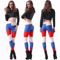 Trousers Sale Cotton Capris Pencil Skinny Mid Yoga Pants Women Leggings Russian Flag Stamp Sexy Nine Pants 2014 New Wear