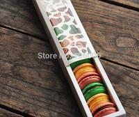 freeshipping macaron gift packing,cookie food cardboard box, cake box, chocolate box 25.5CMX5.5CMX3.7CM,45PCS/LOT