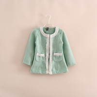 New 2014 Autumn Boutique girls Linen fabric lace jacket fashion double pockets woollen coat 3 colors 5pcs/lot