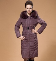 Free Shipping New Original 2014 Fur cotton-padded clothes autumn winter outwear Fashion Women long jacket XL - 6XL,B2227