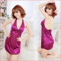 SW173 hot sale fashion erotic sleepwear deep purple halter backless fantasia babydoll temptation sexy lingerie