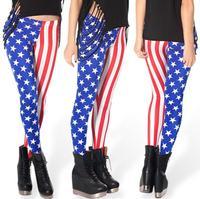 Yoga Hot Sale Cotton Capris Pencil Pants Skinny Mid Women Leggings Printed Bars Star American Flag Pants 2014 New Wear