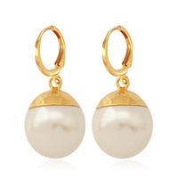 New Earrings 18K Real Gold Plated Big White Pearl Beads Costume Girls Drop Earrings Jewelry For Women Fashion Jewelry MGC E1215
