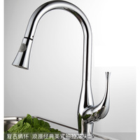 Morden Brass Sink Pull Out Kitchen Faucet Hot and Cold Mixer Water Tap Deck Mounted Single Hole torneira para pia conziha cocina