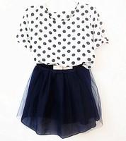 Summer dress 2014 dot chiffon top and Dark Blue gauze short twinset  dress with belt