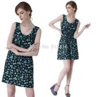 Women Summer Dress 2014 Strip Floral Dress print Short sleeve Shirt Tunic Elastic Strap Dresses Plus size (TFC013)