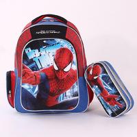 High Quanlity  Boy's  SpiderMan Backpack+ School Pencil Bag ,Student Spider Man Pen Case +Cartoon School Bag Boy Gift