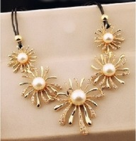 Hot Sales Jewelry new fashion Wholesale or retail  Pearl stone flower Leather Wax line necklace for women gift NE-018