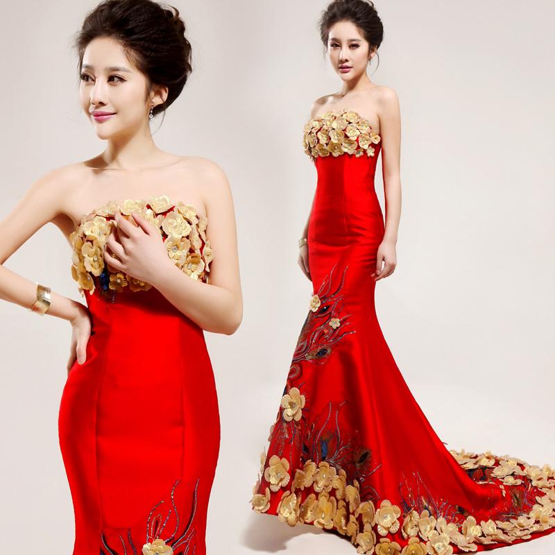 2014 preço barato, melhor dress, nova chegada vermelho longo rabo de peixe b flor vestido longo design formal dress1921#(China (Mainland))