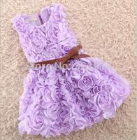 Free shipping girls dress sleeveless vest belt roses