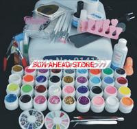 hot sale Pro 36W UV GEL Lamp & 36 Color UV Gel Nail Art Tool Kits Sets tools 25# Free shipping