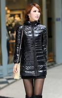 Down Jacket 2014 Hot Women Fashion Thin Hooded Outdoor Coat Zipper Slim Women Jacket Down Cotton Long Sleeve Down Jacket