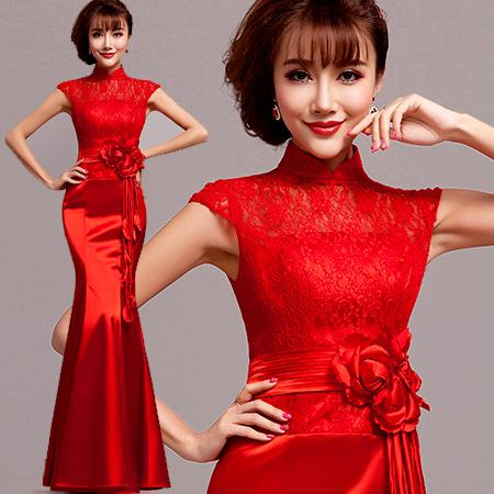 nova chegada 2014 laço vestido de noite longo rabo de peixe banquete vestido formal vestidos de festa 8228#(China (Mainland))