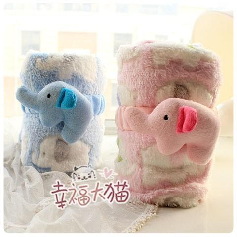 95*75cm 2014 new cartoon blanket hot sale creative cute sweet summer plush elephant blanket animal kids gift stuffed toy(China (Mainland))