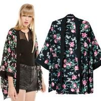 2014 New arrivals Ladies' elegant floral print Kimono outerwear loose vintage coat cardigan casual brand design tops