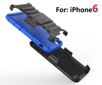 Stand Back clip Waist hanging Bumper Fo iphone6 Anti knock cover 3 in 1 multifunctional rotary Cell Phone case hot gift