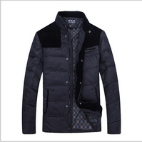Down Jacket 2014 High Quality Men Brand Stand Casual Jacket Patchwork White Duck Down Coat  Zipper Long Sleeve Down Jacket