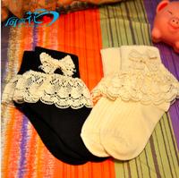 FREE SHIPPING NEW KIDS SOCKS Bowknot  lace thickening girls socks;children cotton socks good quality princess socks