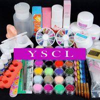 2014 Acrylic Nail Powder Liquid Primer Cuticle Oil Clipper French Glitter Block File Glue Brush Rhinestones Tweezer Art Kit 028