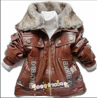 Free shipping new fashion velvet motorcycle leather clothing leather jacket detachable fur collar coat boys