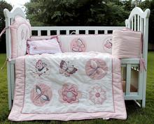 Algodão bordado flores borboleta berço cama conjunto 4 pc para meninas Cot kit cama 3d Quilt Pillow Bumper repouso(China (Mainland))