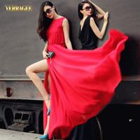Free Shipping 2014 New Fashion Women's Black Red Backless Sexy Maxi Dress Slash Neck Chiffon Split Floor Length Dress (S-XXL)