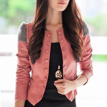 2014 Женщины Blazer Lady OL Faux Leather Длинный Рукав Jacket Coat Повседневный Outerwear ...