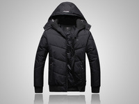 New special cotton men's sports and leisure jacket detachable cap black padded jacket men Slim