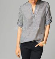 2014 new fashion Europe women stylish classics striped 3/4 sleeve blouse Girl brand high quality summer elegant shirt#J035