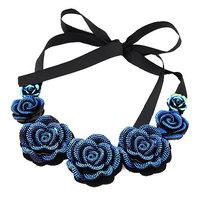 New Fashion Blue lover Rose Statement Necklaces Pendants Ribbon Colar Collier Choker Necklace Women men jewelry Sets Brincos