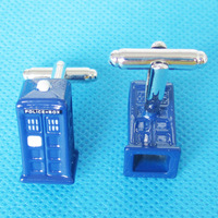 POLICE BOX Cuff Link 3 Pairs Wholesale Free Shipping Promotion