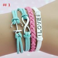 Free Shipping!Male Female Bracelets & Bangles Trendy Multilayer Leather Bracelet Wholesale 20pcs/lot