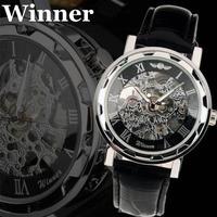 Winner 2014 New Mechanical Men Silver Color Skeleton Dress Wristwatch Brand Fashion Casual Watch
