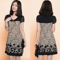 Summer dress 2014 summer women's plus size full dress loose short-sleeve chiffon one-piece dress