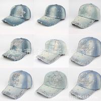 2014 Free shipping summer Rhinestone denim baseball hat sun diamond cap casual diamond