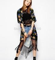 brand design women summer Kimono Cardigan Fashion 2014 short Sleeve Bohemian style tassel Floral Print Long kimono jacket