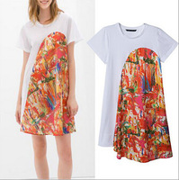 Free shipping !  2014 Girls Colorful Painting Print Asymmetrical  Dress ladies fashion dress evening dress