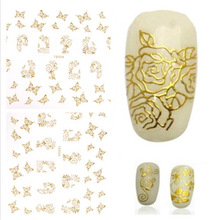 3D gold Decal Stickers Nail Art Tip DIY Decoration stamping Manicure(China (Mainland))