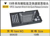 SunRed BESTIR new arrival CR-V 19pcs one set ratchet combination spanners with quick release connector NO.98409 wholesale
