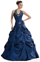 2014 FairOnly New In Stock Halter Beading Crystal Embroidery Women Prom Ball Gown Formal Evening Party Dress