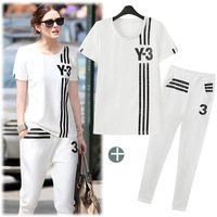 Women Sport Suit Imported Clothing Summer New Arrival 2014 European Grand Prix Set Star with Money Pants Suit for Women 3912