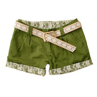 2014 New Arrival Solid Color Two Pockets Women Shorts Summer Lace Splicing Zipper With Belt Straight Shorts 6048