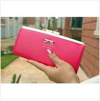 2014 new original cute bow lady purse long section women wallet