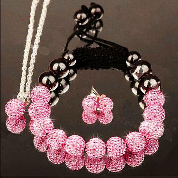 Sexy Light Pink Womens 10MM CZ Crystal Shamballa Disco Ball Bracelet&Necklace&Earrings Charms Shamballa Jewelry Set Free Gift(China (Mainland))