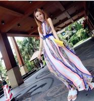 2014 summer sweet sexy long dress  bohemia strapless sleeveless chiffon print one-piece dress