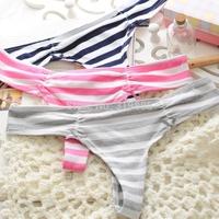 3 pcs/lot Vs panties pink women's 100% cotton horizontal stripe print thong sexy fashion navy style fresh handsome G-String